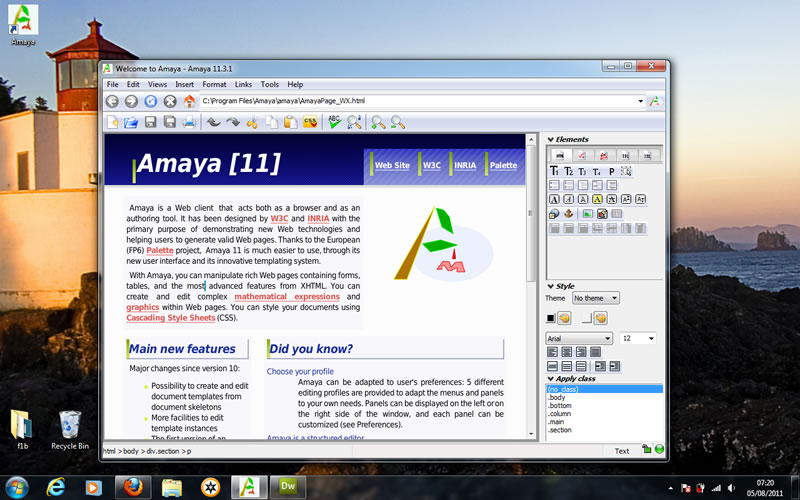create my first webpage using amaya