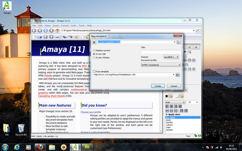 creating my first web page in amaya is easy