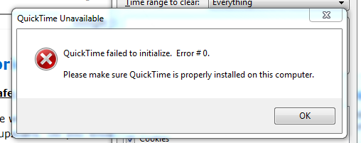fix quicktime error failed to initialize # 0 in 5 minutes