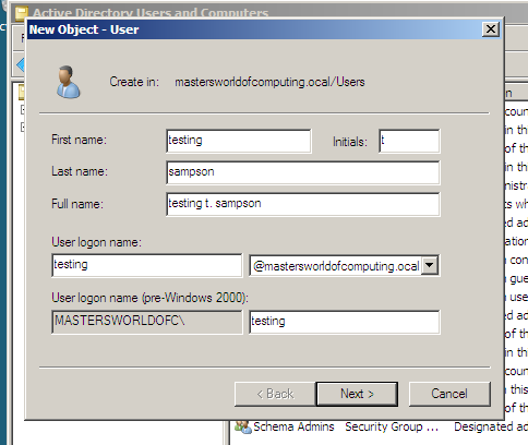 new object in active directory