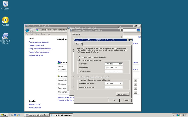how to set static ip address in saerver 2008