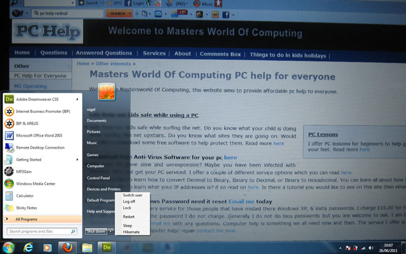windows 7 switch between users with out logging some one off