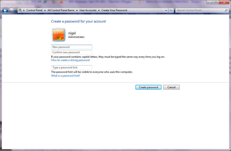 add and remove passwords in windows 7