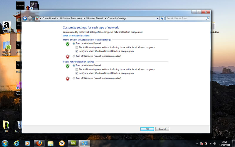windows 7 control panel options is the firewall